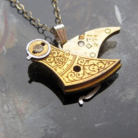 "Clockwork Bird Pendant ""Fly"" Mechanical Bird Necklace Elegant Steampunk Balance Cock Sparrow Gear Robot Wing AMECHANICALMIND"