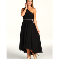 Jessica Simpson One Shoulder Gathered Evening Dress