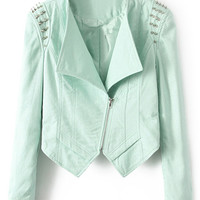 ROMWE Lapel Asymmetric Riveted Zippered Green Coat