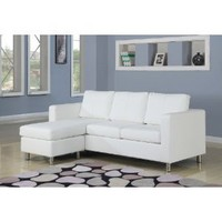  San Francisco Leatherette Convertible Sectional Sofa and Ottoman in White