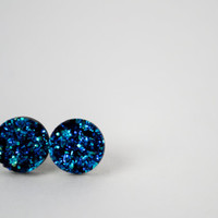 Blue Round Druzy Round Earrings