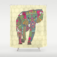 painted elephant straw spot Shower Curtain by Sharon Turner