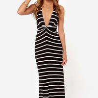 Stripe it Rich Ivory and Black Striped Maxi Dress
