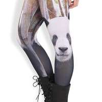 Legging with Black and White Panda Habitat Print