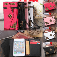 Zipper Stud Rivet Flip Wallet PU Leather Case Cover For Apple iPhone 5 5S 5C