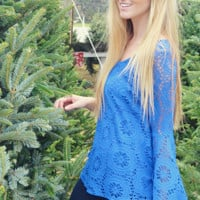 Judith March: Home For The Holidays Top: Royal Blue | Hope's