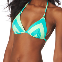 Aqua and light lime Chevron Push-up swim top