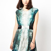 Markus Lupfer Tropical Fish Print Gathered Silk Dress