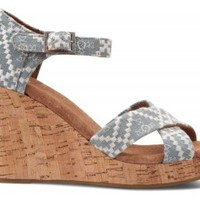 Denim Embroidered Women's Strappy Wedges