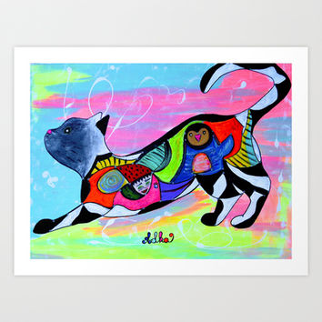 PLAYFUL WHISKERS Art Print by Adka
