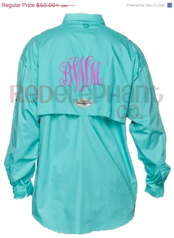 Monogrammed fishing shirt ladies from red elephant clothing for Girls fishing shirts