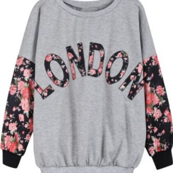 Sheinside Grey Contrast Florals LONDON Print Sweatshirt