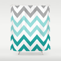 TEAL FADE CHEVRON Shower Curtain by n a t a l i e