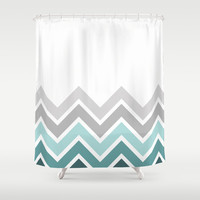 WHITE/ TEAL CHEVRON FADE Shower Curtain by n a t a l i e