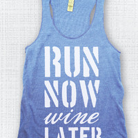 Eco Blue/White Run Now Wine Later Eco Tank
