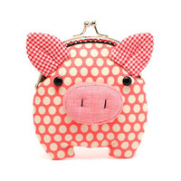 Little salmon pink piggy clutch purse by misala on Etsy