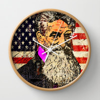 JOHN BROWN-STARS AND STRIPES 2 Wall Clock by The Griffin Passant