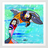 JOYFUL JUMP Art Print by Adka