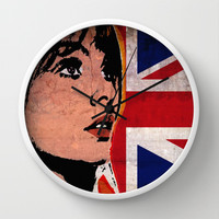JEAN SHRIMPTON-UK POP Wall Clock by The Griffin Passant