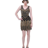 Hand Beaded Black & Gold Carwash Hem Flapper Dress