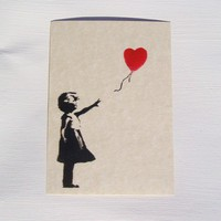 5 Banksy Notecards/postcards assortment of images by Numbers14