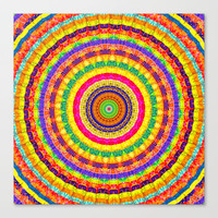 Batik Bullseye Stretched Canvas by Peter Gross