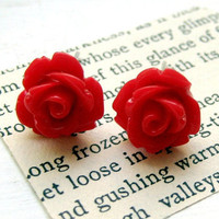 Cherry Red Rose Stud Earrings by MadebyLinLin on Etsy