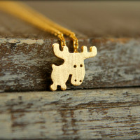 Little Moose Necklace in Brushed Gold