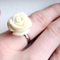 One Rose Adjustable Silver Ring by MadebyLinLin on Etsy