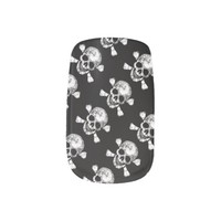 Skull and Bones Black and White Minx Nail Wraps