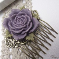 FRENCH KISS Deep Purple Rose Cabochon/Brass by NoisyButterfly