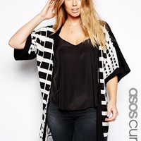 ASOS CURVE Exclusive Longline Kimono With Graphic Check