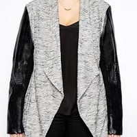New Look Inspire Waterfall Jacket With Leather Look Sleeves
