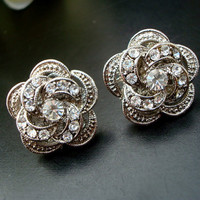 Bridal Earrings Victorian Style Rose Rhinestone by DivineJewel