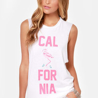 Laundry Room Flamingo City White Muscle Tee