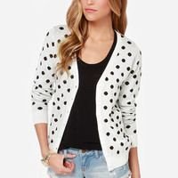 Dot in the Middle Ivory Polka Dot Cardigan Sweater