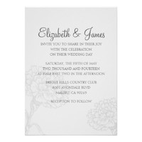 Custom Modern White Wedding Invitations