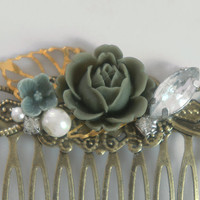 Olive Green English Rose Shabby Chic Collage Comb - OOAK Victorian Style Shabby Chic Flower Collage Hair Comb - VCC015