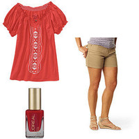 Walmart.com: Knit Peasant Top, Levi's Slimming Shorts Plus Nail Polish Value Bundle: Women