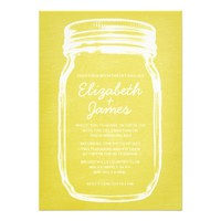 Yellow Vintage Mason Jar Wedding Invitations