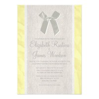 Yellow Vintage Bow & Linen Wedding Invitations