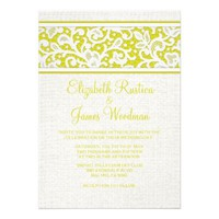 Yellow Rustic Country Burlap Wedding Invitations