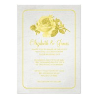 Yellow Rustic Floral/Flower Wedding Invitations
