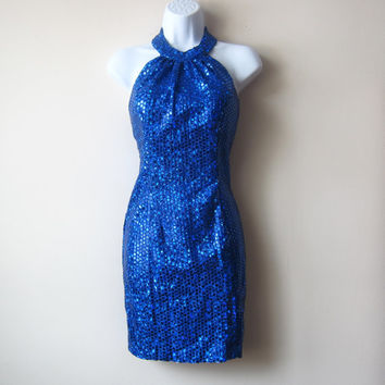 90s Club Kid Cobalt Blue Sequin Dress -- Halter Neck, Sexy Raver Body Con Mini Dress, SMALL / MEDIUM