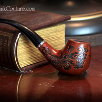 Sherlock Holmes style Wooden Steampunk pipe by SteampunkCouture