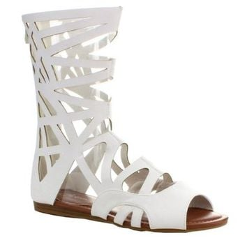 FOREVER SONIA-83 Women's New Hot Peep Toe Flat Bottom Gladiator Style Sandals