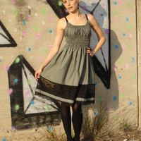 Lovely grey cotton babydoll dress with a wonderful by ElviraDesign