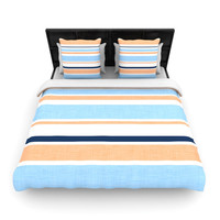 "Alison Coxon ""Jack Tar Pink"" Blue Orange Fleece Duvet Cover"