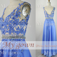 2014 Prom Dress,Straps Lace Applique Chiffon Prom Dress, Wedding Dress, Evening Gown,Formal Dresses,Evening Dress