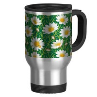 Yellow Daisy Flower Pattern Travel Coffee Mug